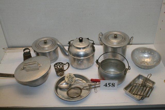 11 vintage  french Children Kitchenware Miniature alu kitchenware tools