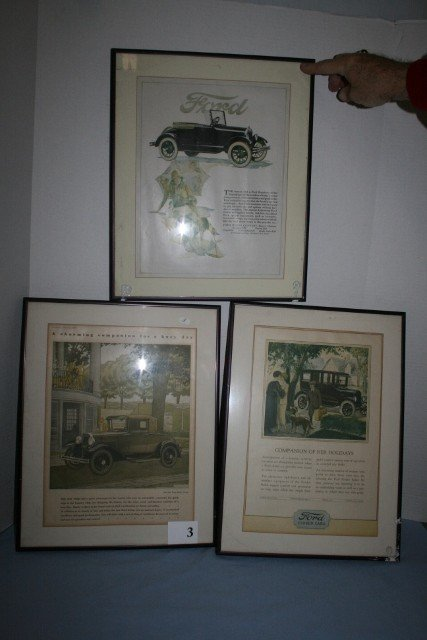 Three framed old FORD ads