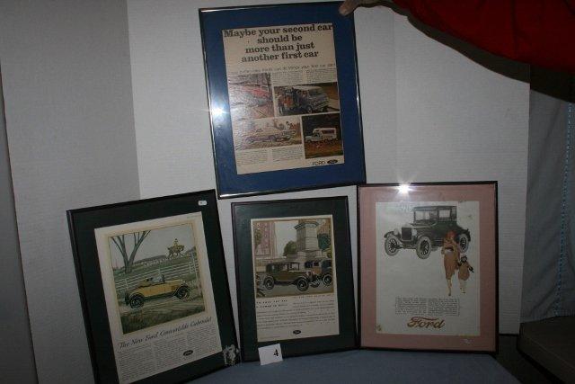 Four framed  old Ford ads