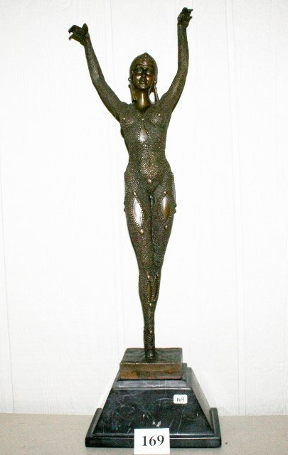 Bronze Woman on Marble Base