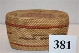 Lidded Polychrome  Makah Basket