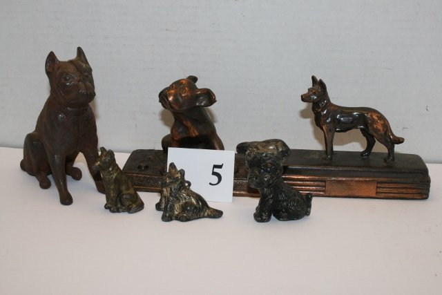6 Metal Dog Figurines