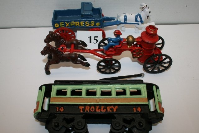 Repro Trolley Car, Horse Drawn Fire Pumper