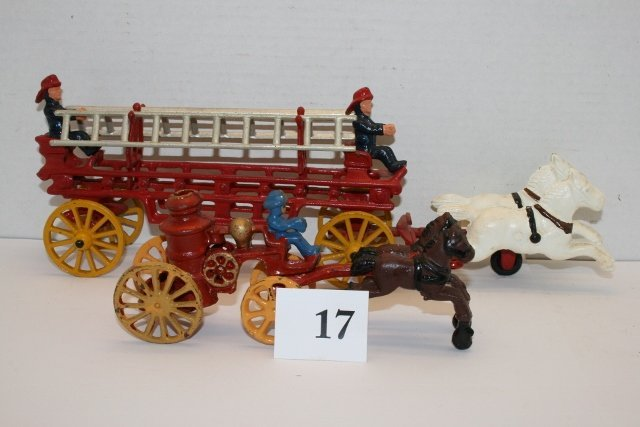 (2) Repro Cast Iron Horse Drawn Fire Wagons