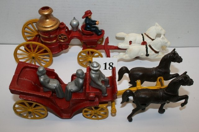 (2) Newer Horse Drawn Toys