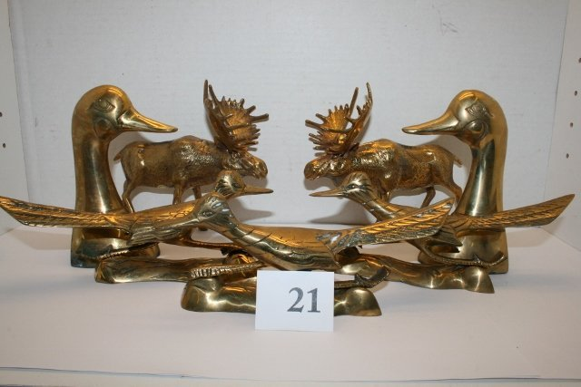 7 Pcs. Brass – 3 Roadrunners, 2 Moose