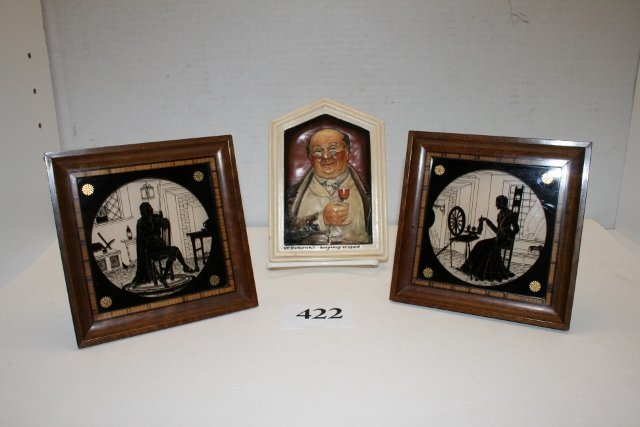Mr. Pickwick Plaque & Pair Silhouette Pictures