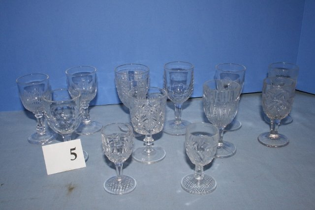 (12) Small Clear Goblets & Cordials