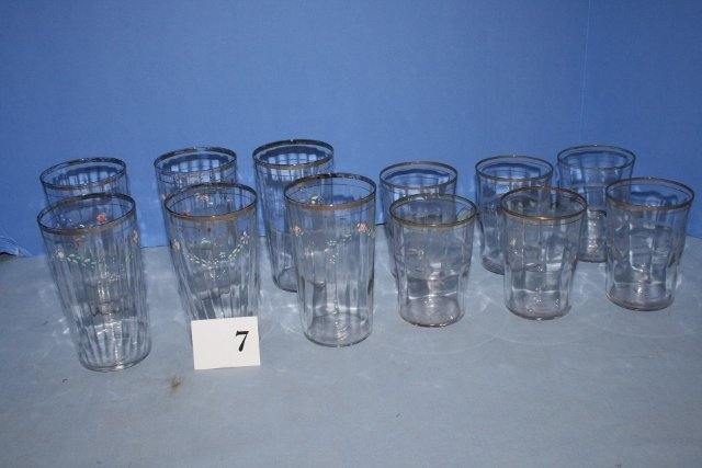 (12) Victorian Clear Drinking Glasses