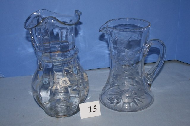 (2) Clear Victorian Tall Pitchers