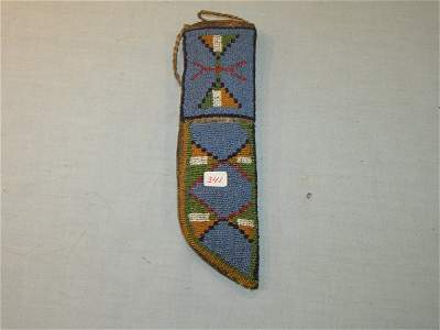 "341: 9 1/8"" Knife Beaded Sheath on Parfleche Bag"