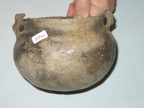 "370: 5 1/4"" x 4"" Mississippian Bowl with Effigy Handles"