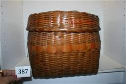 Splint Lidded Storage Basket