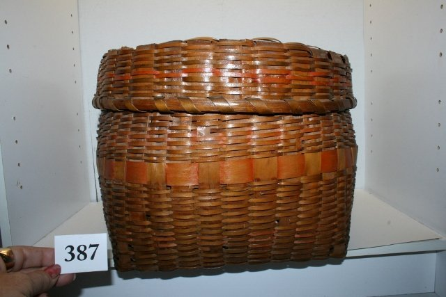 Splint Lidded Storage Basket