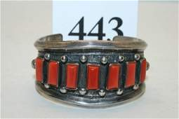 Silver with Coral Bar Insets Bracelet