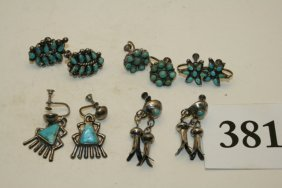 5 Pair Silver- Turquoise Earrings