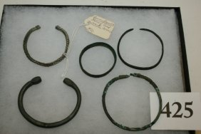 5 Bronze Roman Bracelets, One Tag Reads Roman Bracelet