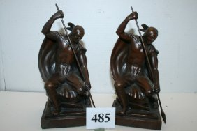 Pair Bronze Clad Indian With Spear Bookends