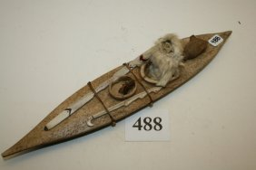 Eskimo Kayak With Male Figure & Tools