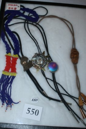 4 Bolo Ties And A Beaded Necklace