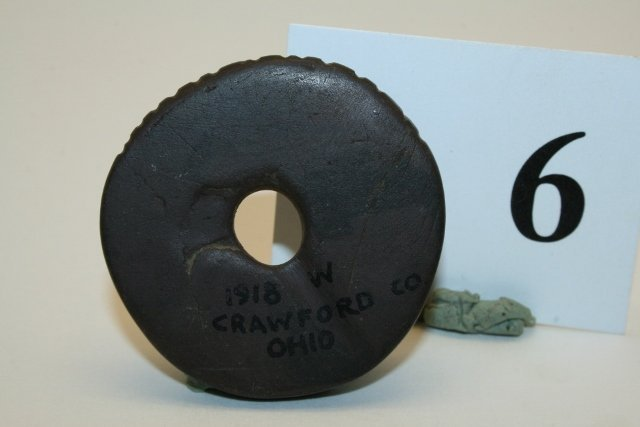 Red Banded Slate Drilled Disc