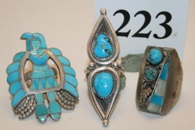 3 Turquoise Rings