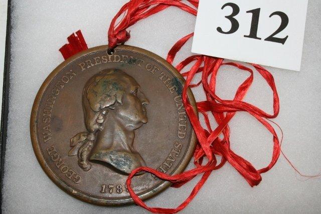 Bronze Washington 1789 Peace Medal