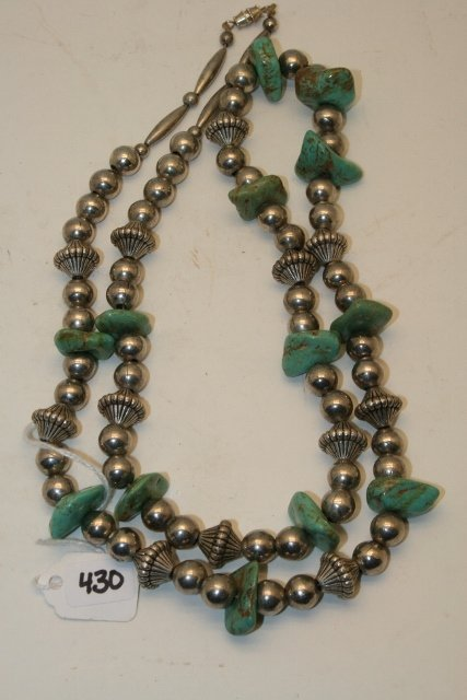 Strand Silver Beads and Turq. Nugget Necklace