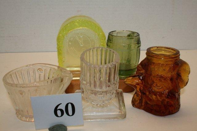 5 Assorted Glass Items: Clock, Coal Hod