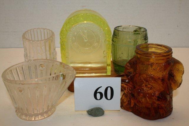 5 Assorted Glass Items: Clock, Coal Hod - 2