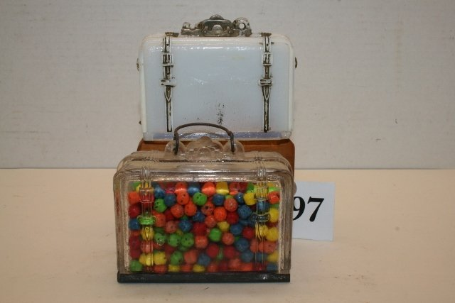 Luggage with candy, Milk Glass Luggage
