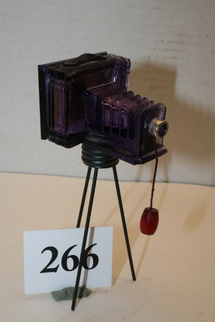 Purple Glass Camera Candy Container