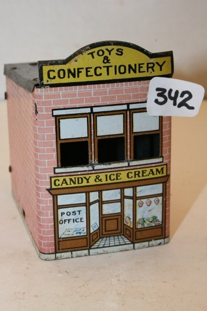 Tin Building Candy Container