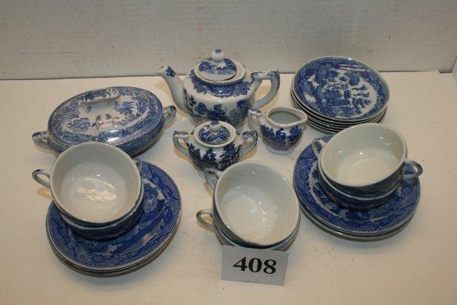 24 Pcs. Childs Blue Willow Child's Dinnerware Set