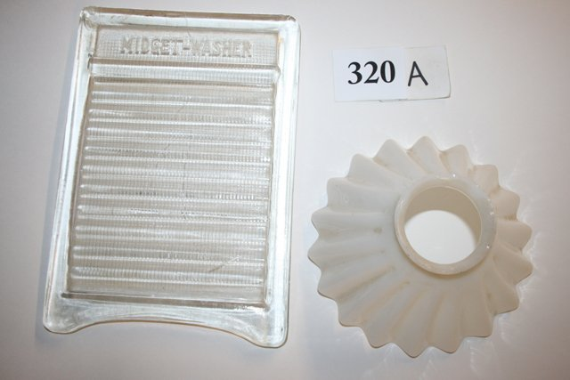 "Scrub Board ""Midget Washer"" Milk Glass Smoke Bell"