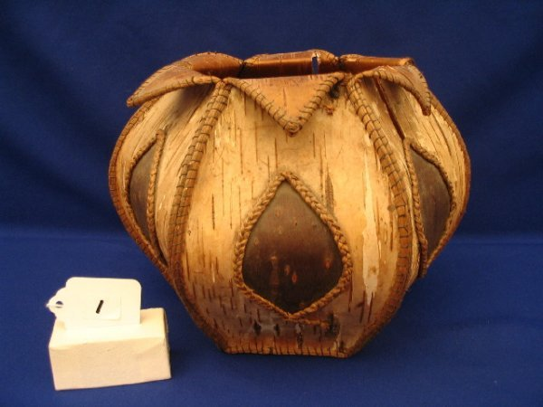 """1: 6"""" x 7"""" Six Sided Decorated Birch Bark Container"""