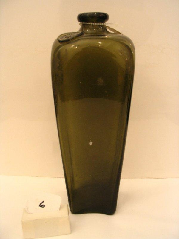 "6: 10 1/2"" 1870's Green Gin Bottle"