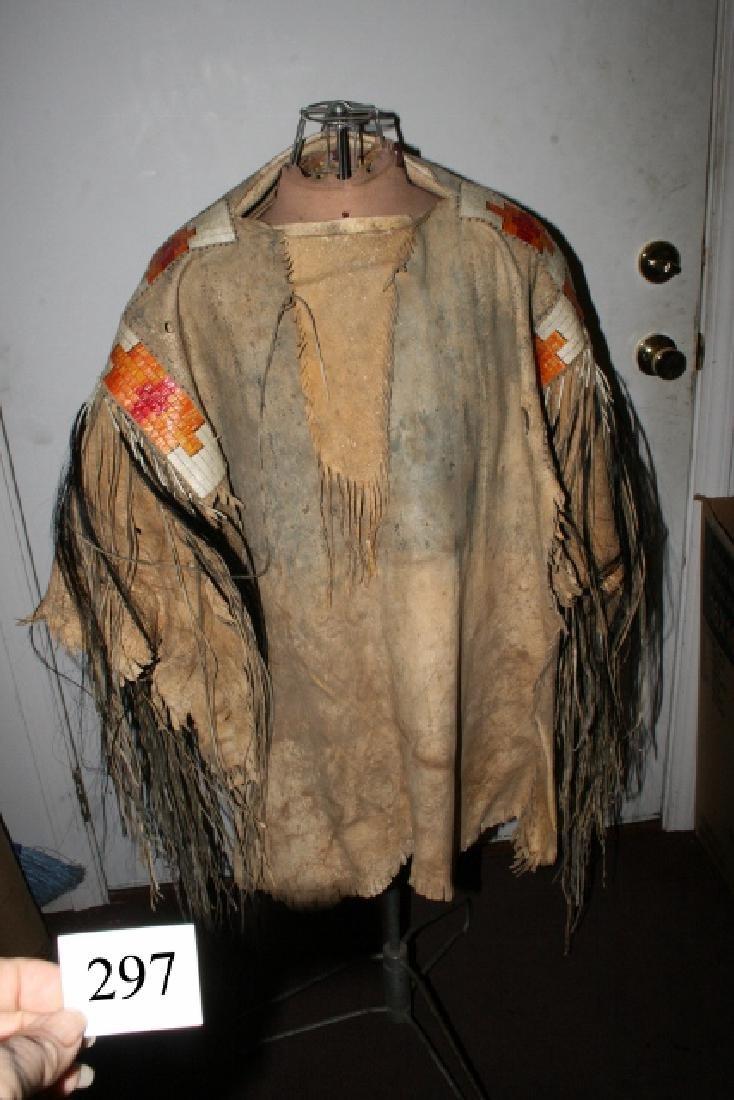 Beautiful Well Made Mandan War Shirt, Quill work,