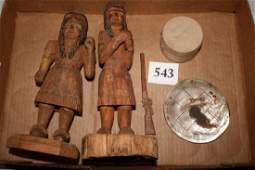 2 Carved Wood Indians