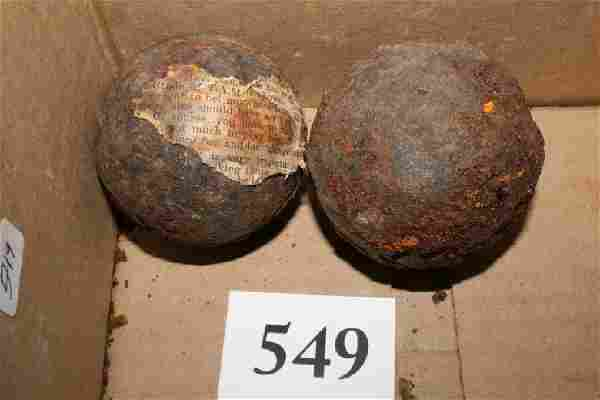"(2) 2 ½"" Rusty C.W. Cannon Balls"