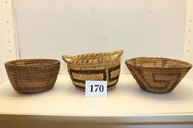3 Assorted Papago Baskets