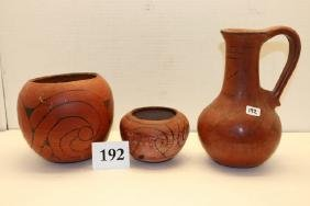 3 Black on Red Pottery Items
