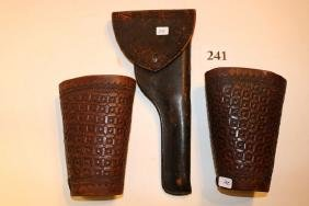 Gun Holster and Pair Engraved Cuffs