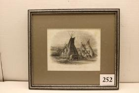 Steel Engraving of Indians and Lodges