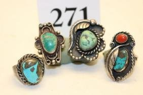 4 Assorted Sterling Rings