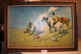 "Oil on Canvas signed Remington ""Smoke Signals"