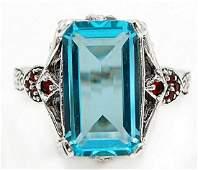 Beautiful 8 CTW Aquamarine  Garnet 925 Sterling Silver