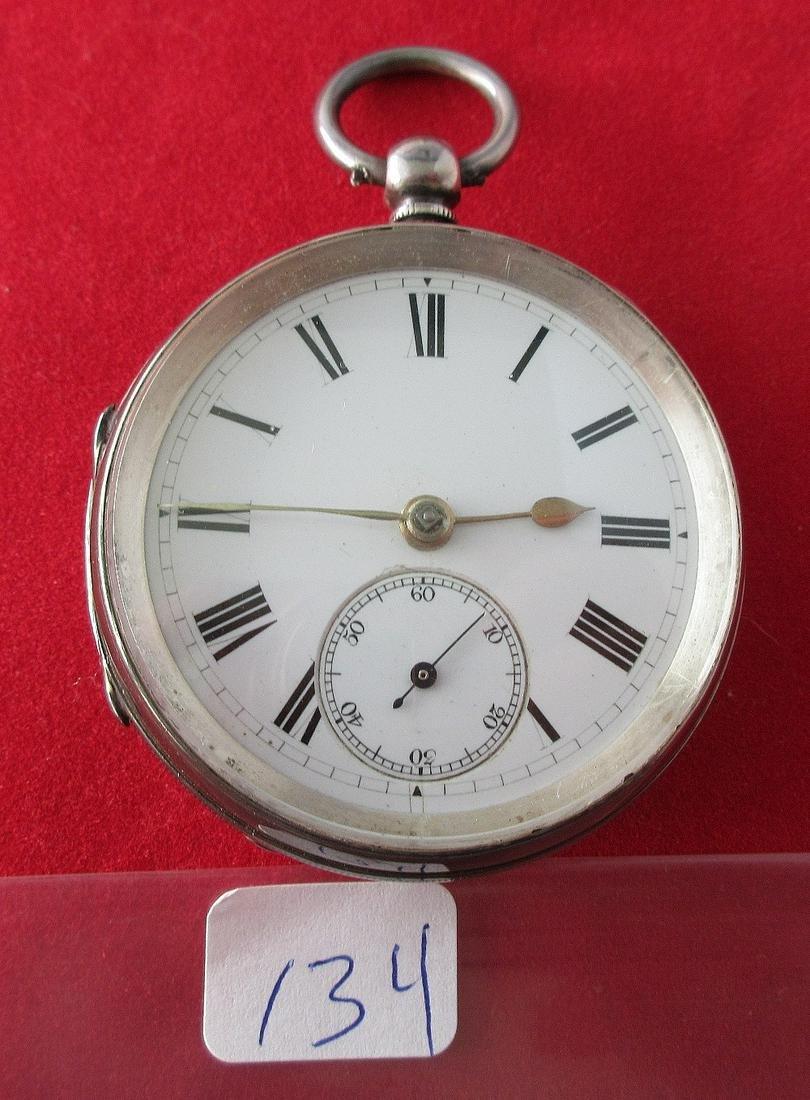 1867 key wind antique pocket watch.  Sterling case.
