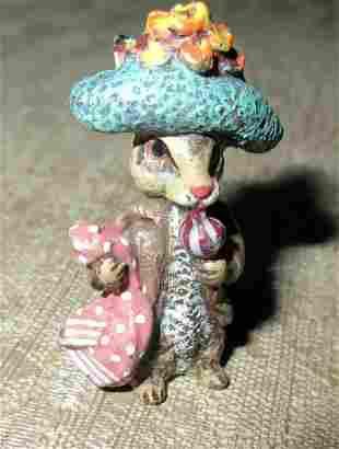 Vintage miniature Vienna Austria bronze mother rabbit