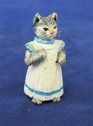 Vintage miniature Vienna Austria bronze cat maid